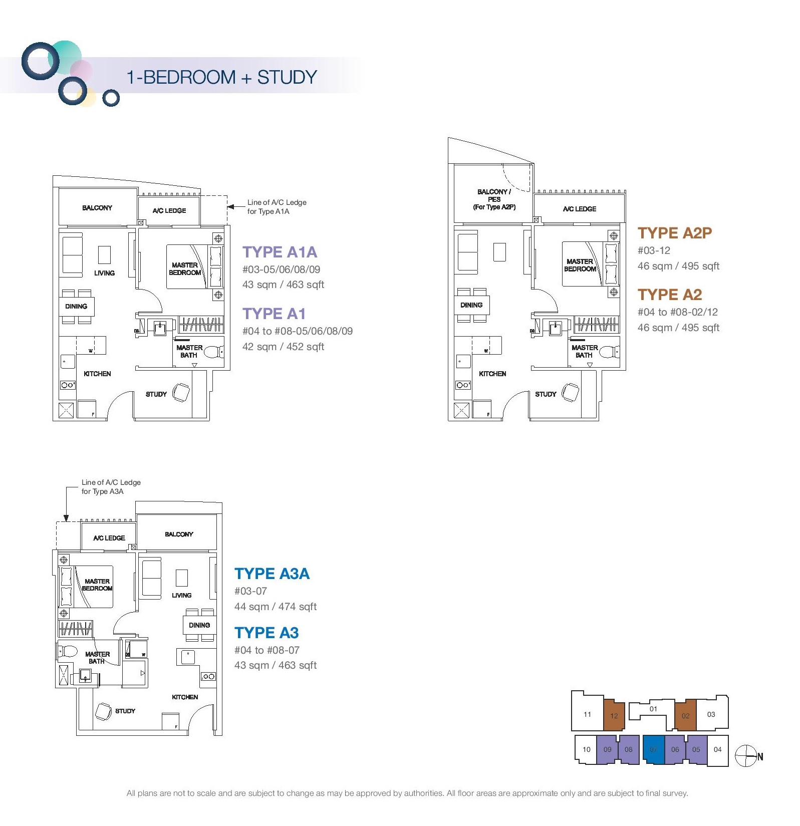 Rezi 3Two 1 Bedroom + Study Floor Plans Type A1A, A1, A2P, A2, A3A, A3