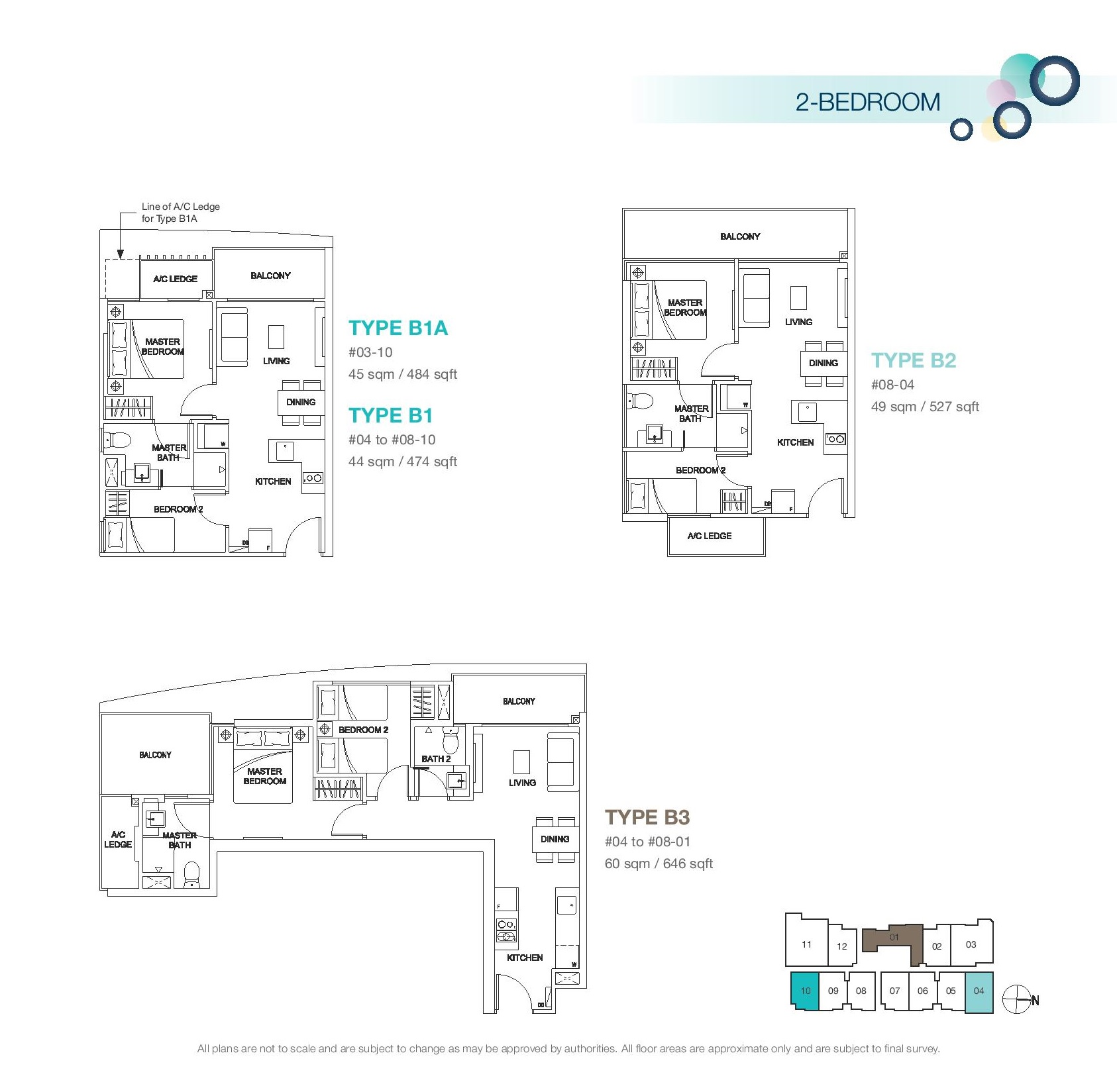 Rezi 3Two 2 Bedroom Floor Plans Type B1A, B1, B2, B3