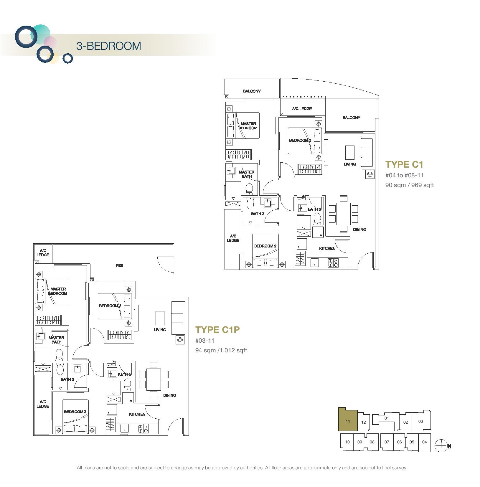 Rezi 3Two 3 Bedroom Floor Plans Type C1, C1P