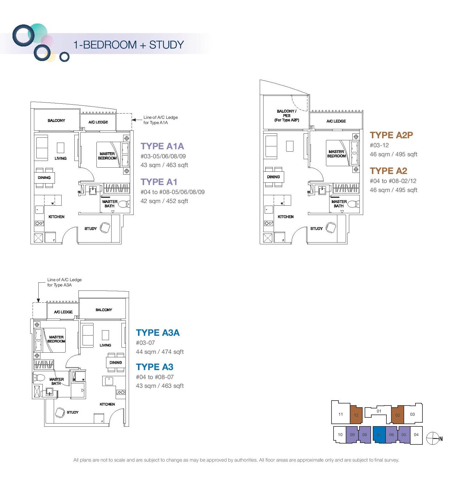 Rezi 3Two 1 Bedroom + Study Floor Plans Type A1A, A1, A2P, A2, A3A, A3