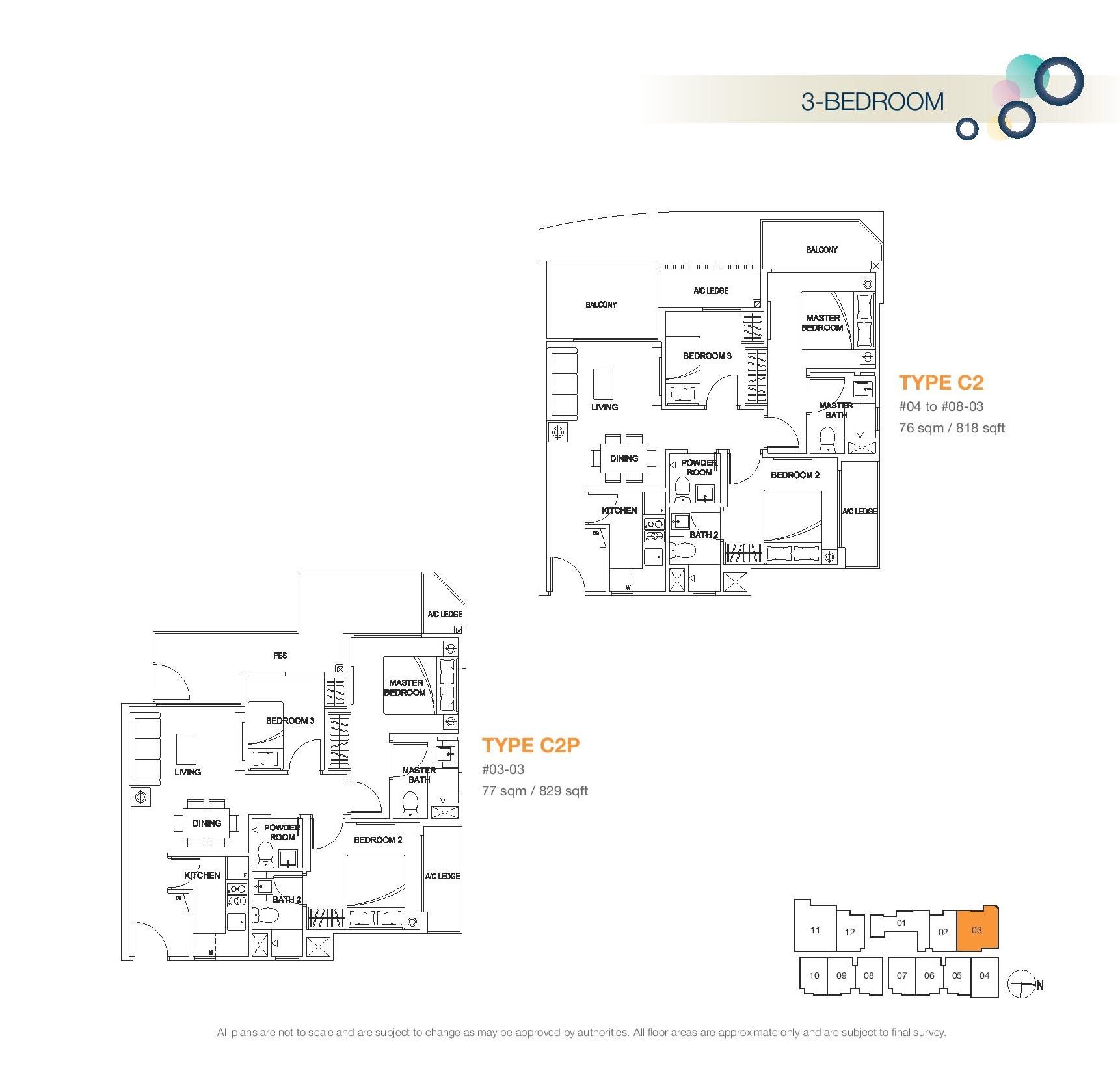Rezi 3Two 3 Bedroom Floor Plans Type C2, C2P